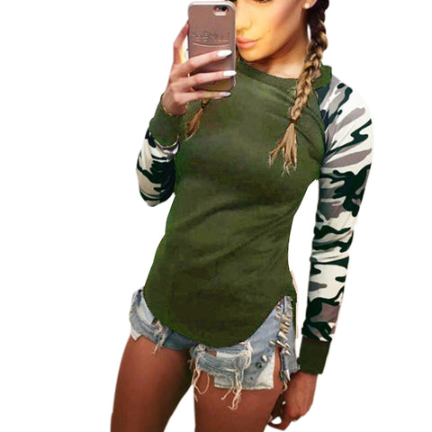 T Shirt Women 2018 Ladies Women's Camouflage Army Long Sleeve Tops T-Shirts Autumn Casual Women TShirt Feminina LX073 - GirlsThingShop
