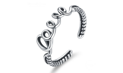 LOVE Adjustable Rings Silver - GirlsThingShop