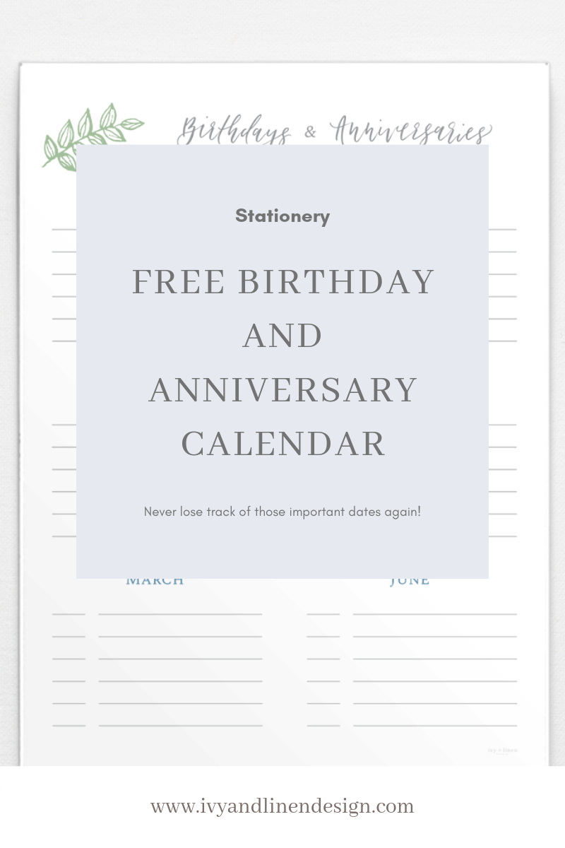 photo about Free Printable Birthday Calendar identified as No cost Printable Birthday Anniversary Calendar! - Ivy +