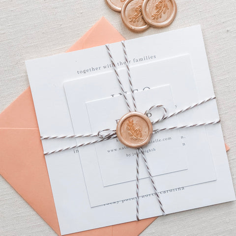square wedding invitation suite, peach envelope, champagne blush wax seal, custom wedding invitation