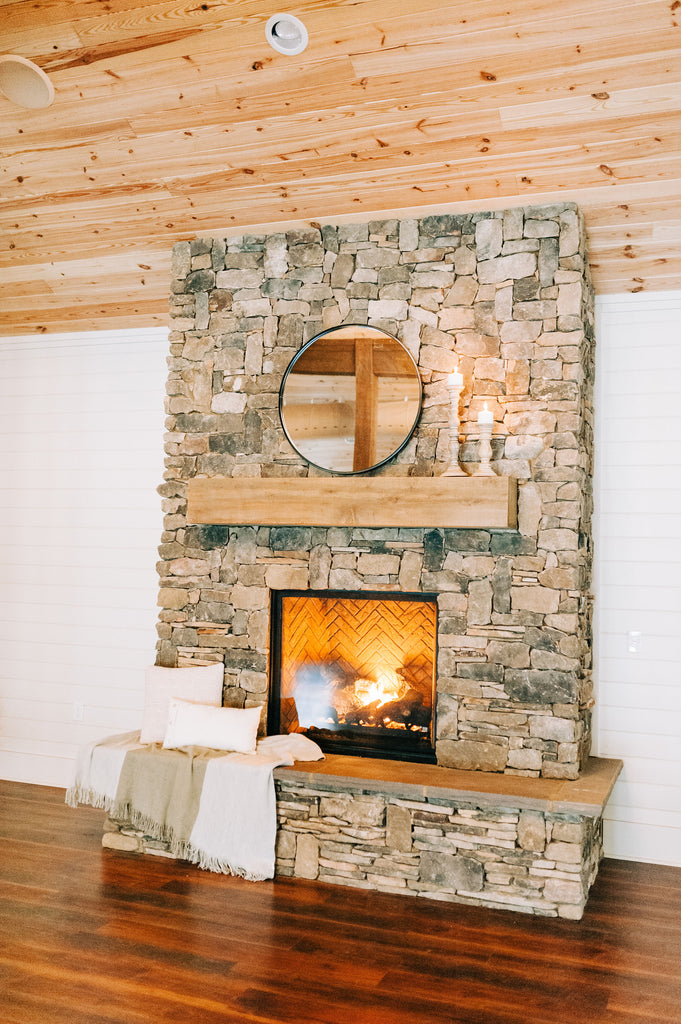 Gorgeous fireplace and mantle at Old Homestead Farm Events in Rocky Point, NC. Photography by Chelsea Allegra Photography.