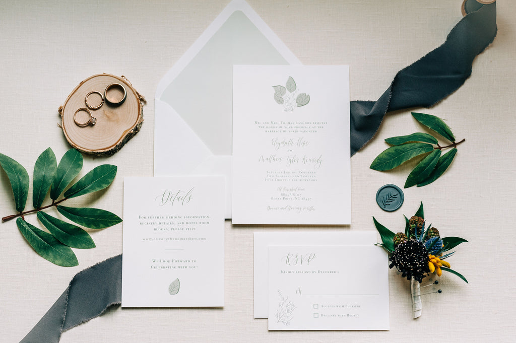 Boho Rustic Wedding Invitation Suite with calligraphy details and simple, classic design; Old Homestead Farm; Photography by Chelsea Allegra Photography