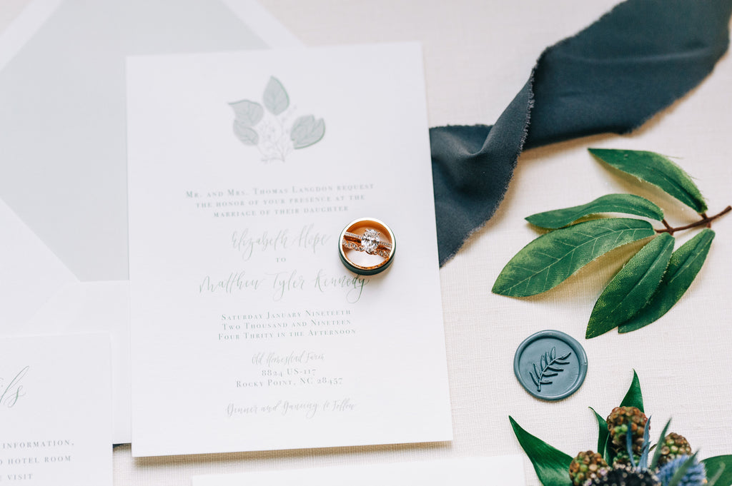 Rustic boho wedding invitation suite for styled shoot at Old Homestead Farm in Rocky Point, NC. Wax seals, florals, eucalyptus. Photo by Chelsea Allegra Photography.