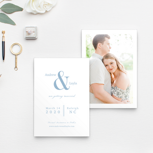 Ampersand Save the Date in multiple colors, Photo Save the Date, Simple Design