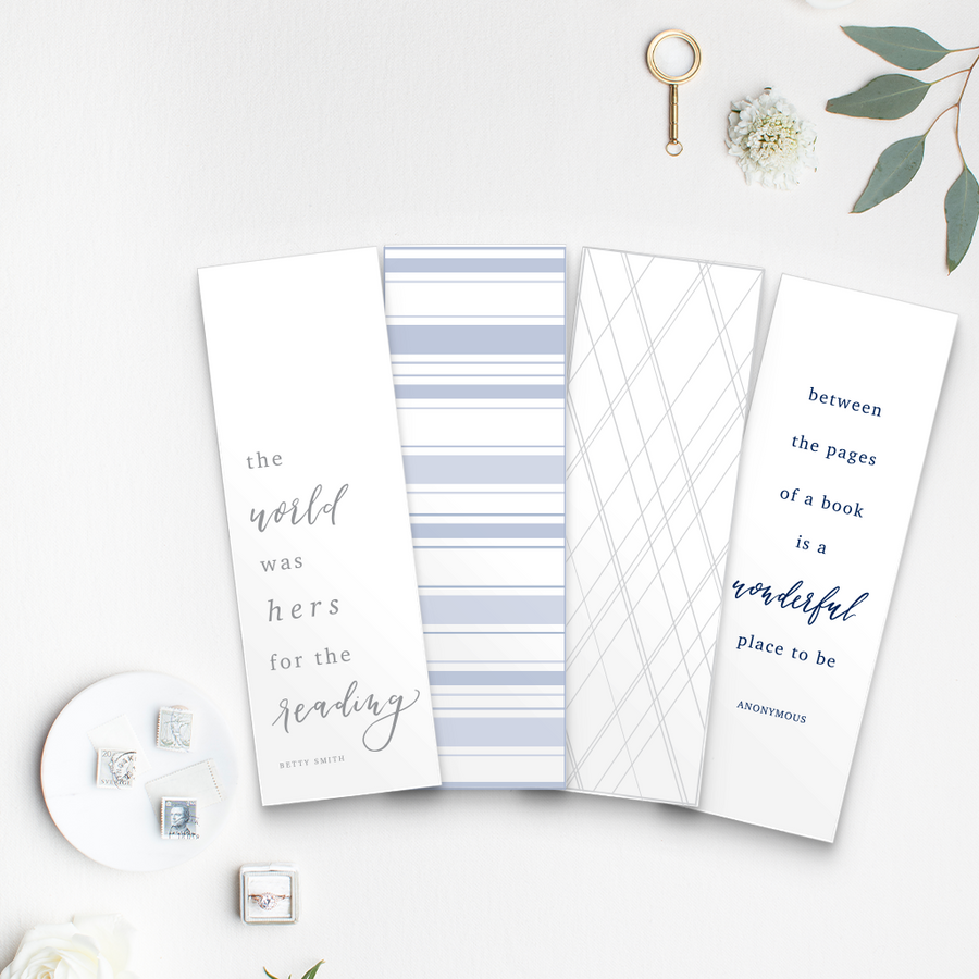 Set of 4 bookmarks on linen cardstock: the world was hers for the reading, between the pages of a book is a wonderful place to be, blue stripes, gray geometric pattern