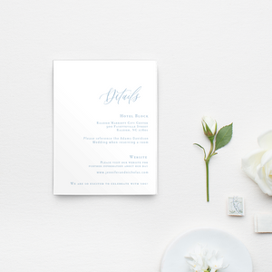 Melrose Knitting Mill Wedding, calligraphy wedding invitations, blue and white invitations, simple wedding