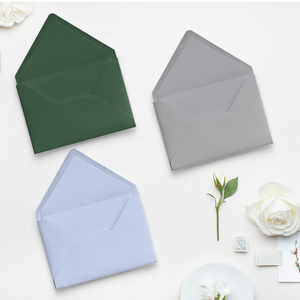 Color envelope options for Save the Dates, Wedding Invitations, Birth Announcements, and New Home Announcements