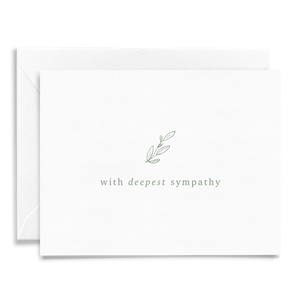 With Deepest Sympathy folded greeting card on linen cardstock in olive green font and greenery detail