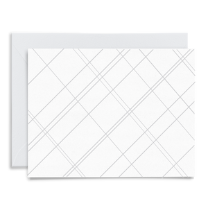 Gray geometric pattern greeting card printed on linen cardstock with a gray envelope to coordinate