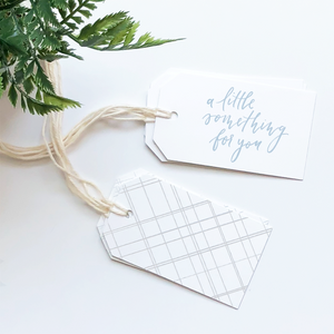 A little something for you and gray geometric pattern gift tags in a set of 6