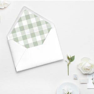 Gingham, Buffalo check, green and white pattern, envelope liner