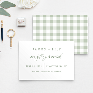 Gingham, Buffalo check Save the Date with a green and white pattern and calligraphy and hand lettered details