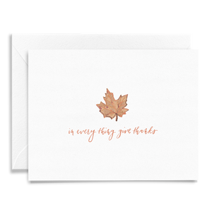 In Everything Give Thanks folded greeting card printed on linen card stock for Thanksgiving and other holiday celebrations