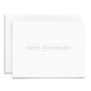Simple classic Happy Anniversary folded greeting card on linen cardstock with green font