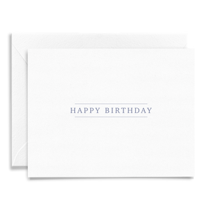 Simple classic Happy Birthday folded greeting card on linen cardstock with blue purple font