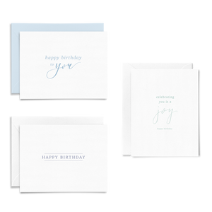 Birthday Card Set of 6 on #120 Linen cardstock, Happy Birthday to You, Celebrating You is a Joy, Handlettered Birthday Card
