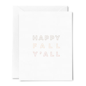 Happy Fall Y'all folded greeting card on linen cardstock with earthy brown and burnt orange font colors