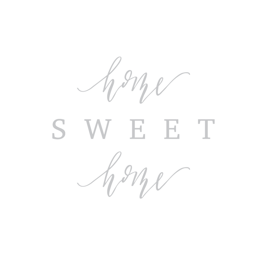 Calligraphy and hand lettered Home Sweet Home 8x10 art print on linen cardstock with gray font