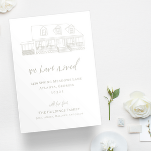 Custom home outline new home or moving announcement with hand lettering and calligraphy details on eggshell cardstock