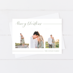 Landscape Script Holiday Card (1 or 3 Photos)