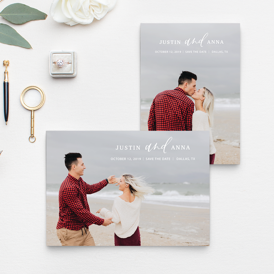 "Classic photo save the date with a photo background and handlettered ""and"" between the names of the engaged couple; Photo by Chelsea Allegra Photography"
