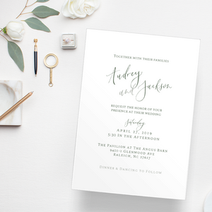 Pavilion at the Angus Barn Wedding, Magnolia wedding, dark green and white invitations