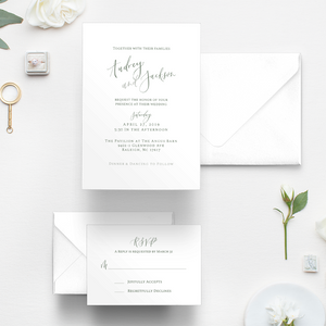 Pavilion at the Angus Barn Wedding, Magnolia wedding, dark green and white invitations and RSVP card