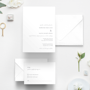Winmock at Kinderton Wedding, Winston-Salem Wedding, simple wedding invitation, minimal invitation, RSVP card