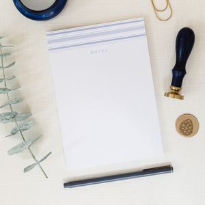 Blue Stripe Notes 5x7 notepad for all of your notes to keep track of throughout the day; Photo by Kelsey Nelson Photography