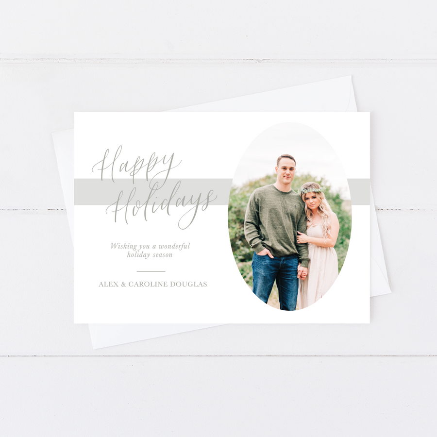 Oval Script Holiday Card