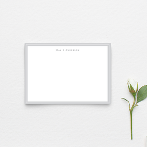 Personalized notecards with a gray border with multiple colors to choose from, Custom Stationery, Name notecards