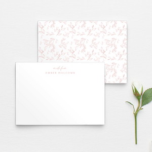 Botanical personalized notecards with floral and leaf pattern in pink and multiple other color options, custom stationery, name notecards