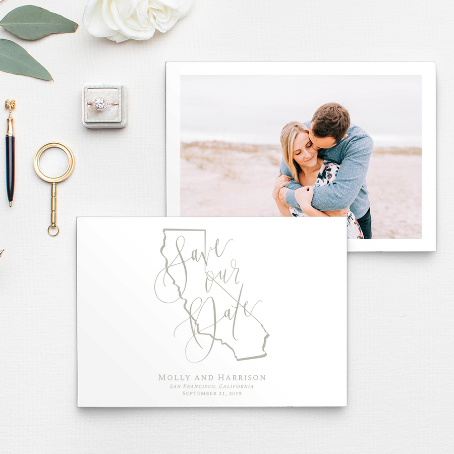 North Carolina state outline drawing photo Save the Date with hand lettering and calligraphy details; Photo by Chelsea Allegra Photography