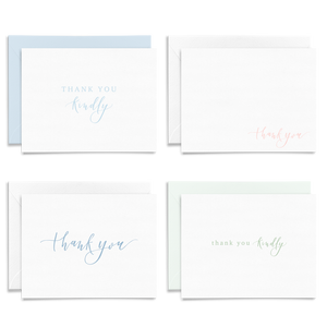 Set of 8 calligraphy and hand lettered folded thank you greeting cards on linen cardstock; thank you kindly; dusty blue, light pink, and green fonts