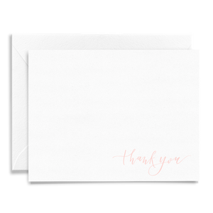Calligraphy and hand lettered Thank You folded greeting card on linen cardstock and light pink font