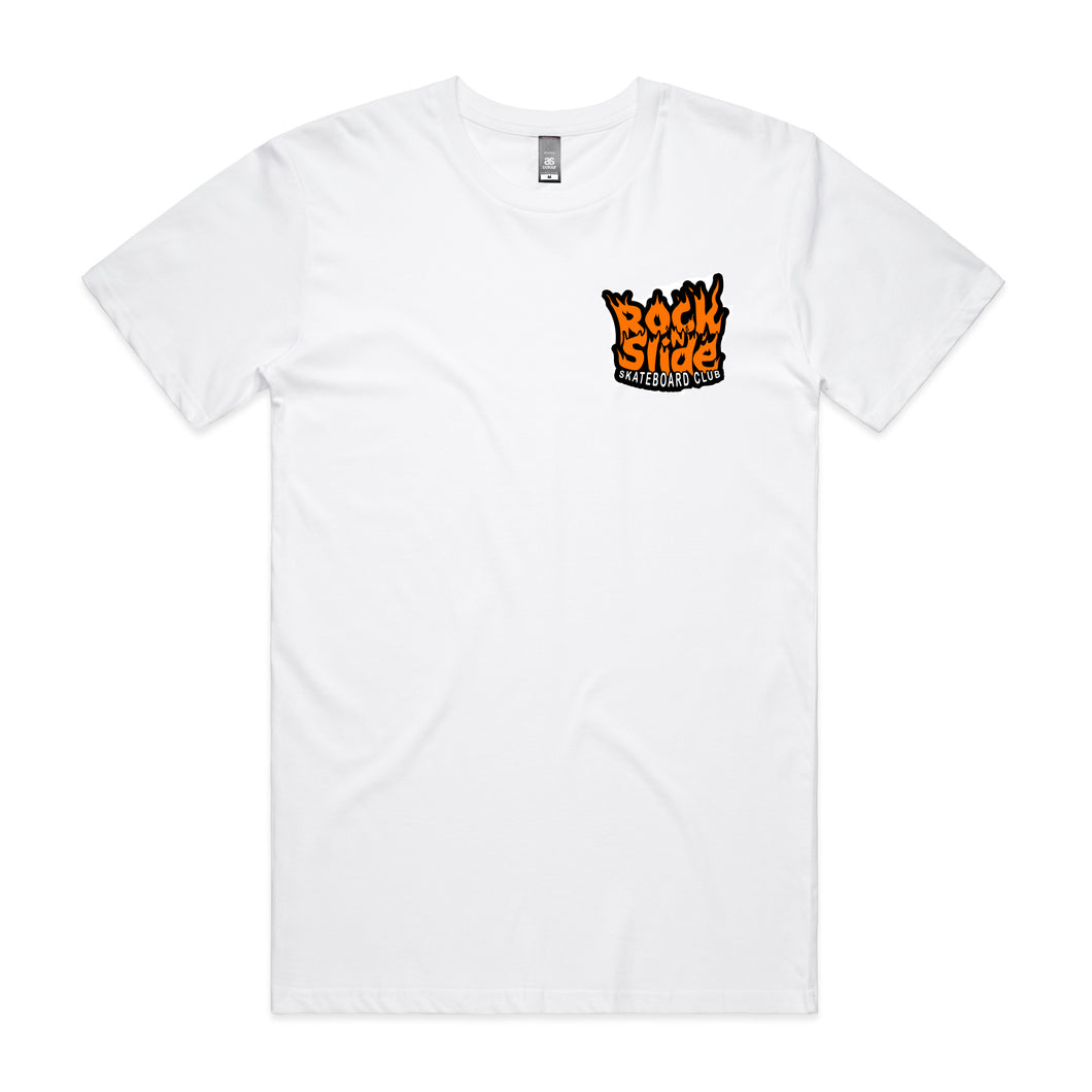 Kids Rock N Slide Skateboard Club Flame Tee White