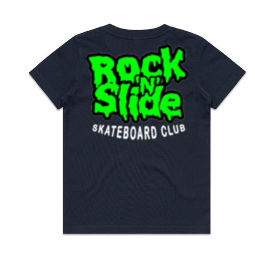 Kids RockNSlide Skateboard Club Slime Tee | Black