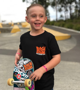 Kids Rock N Slide Skateboard Club Flame Tee Black