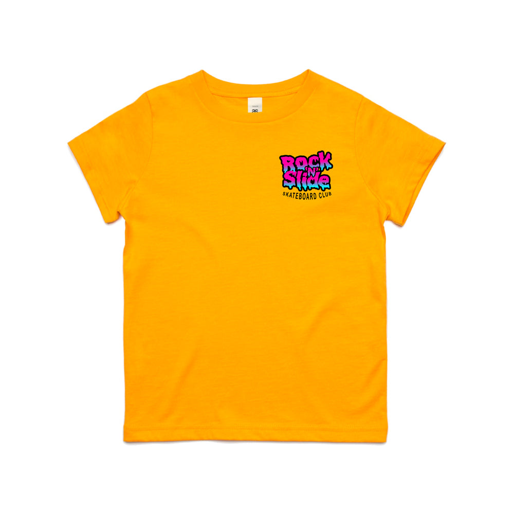 Adults RockNSlide Skateboard Club Bubble Gum Tee| Orange | Pre-Order