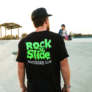 rock n slide skateboard club black adult t-shirt