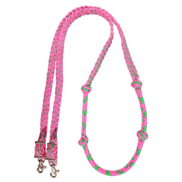 Braided Nylon Barrel Rein with Knots, Multiple Colors