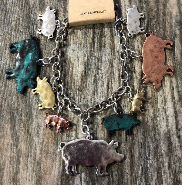 Bracelet, Charm with Pigs