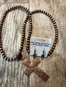 Necklace Set in Copper with Cross