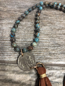 Necklace, Blue Gem Silica, Indian Head Nickel, and Leather Tassel