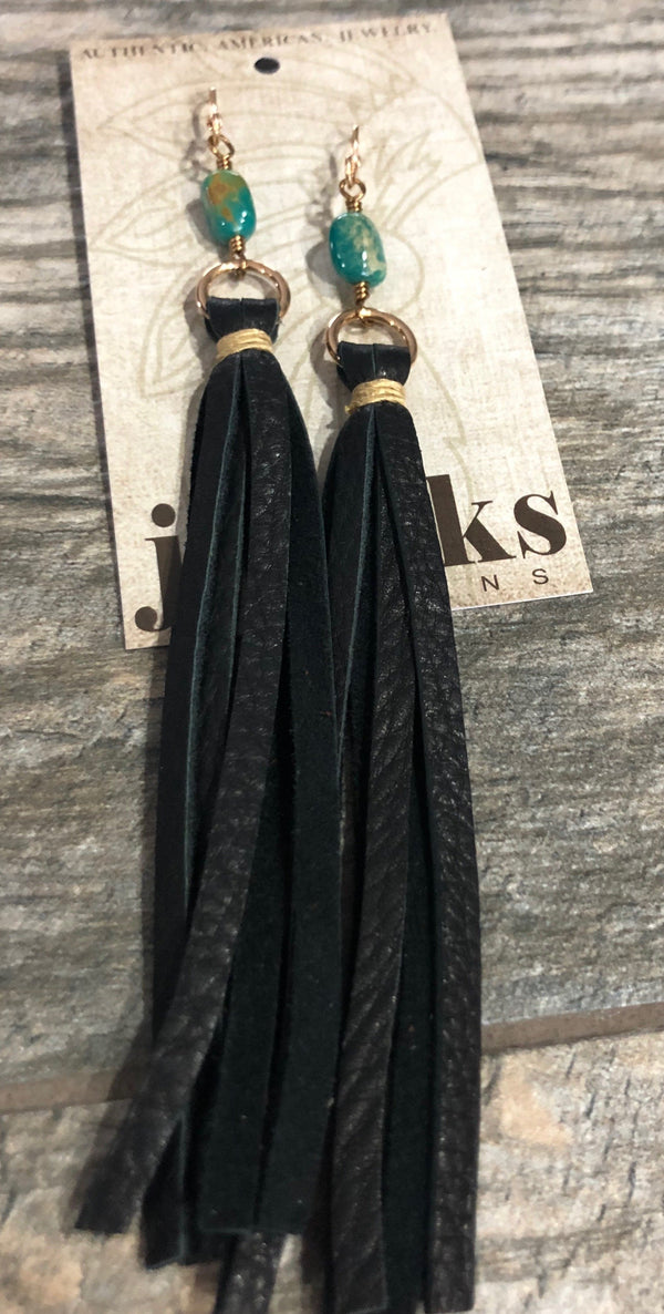 Earrings, Leather Tassel and Stones
