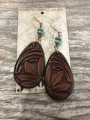Earrings, Tooled Floral with Turquoise