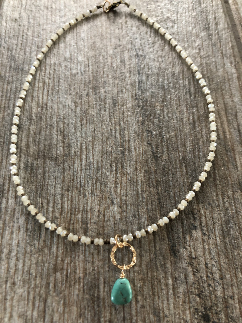 Necklace, Choker with turquoise and bling