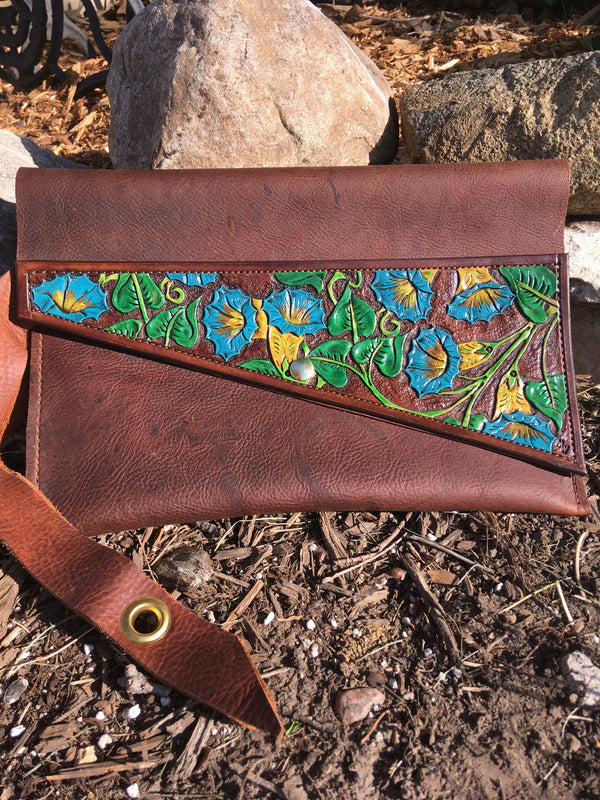 Clutch, Hand Tooled & Painted Flowers