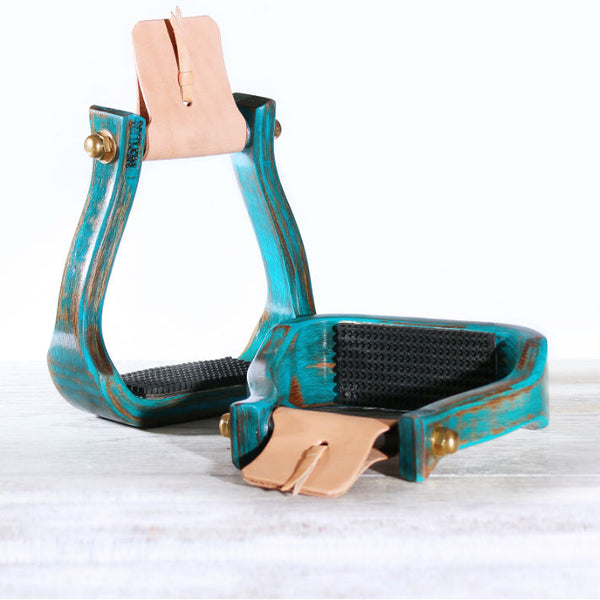 Nettles Barrel Racing Stirrup, Distressed Turquoise