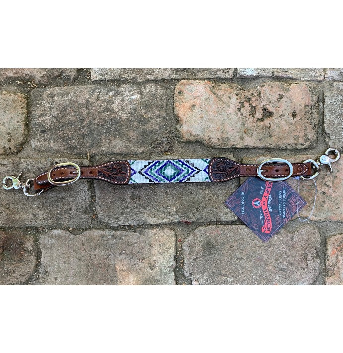 Wither Strap, Beaded Aztec Blue